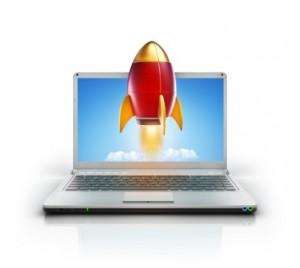 Rocket taking off from laptop