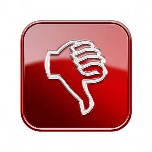 thumb down icon glossy red, isolated on white background