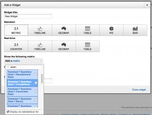 Choosing a metric for a dashboard widget
