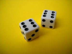 two dice that each display six