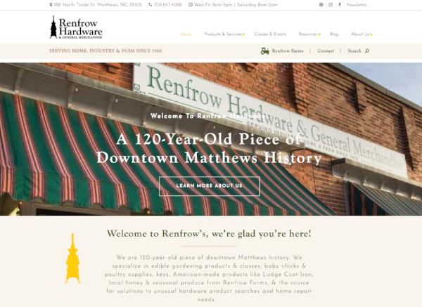 Renfrow Hardware store website design