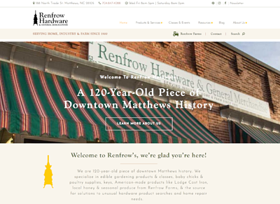Renfrow Hardware store website design